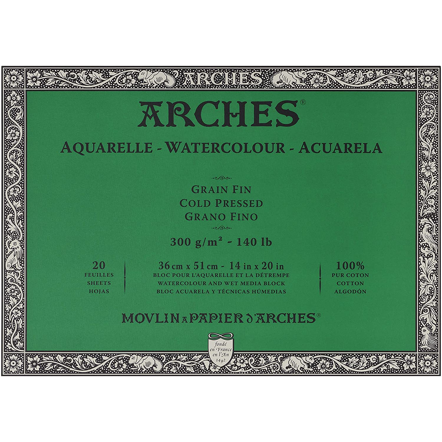 with 4-Pack Upsyde Angle Lifts 18x24 Cold Press 140lb Arches Watercolor Paper Block