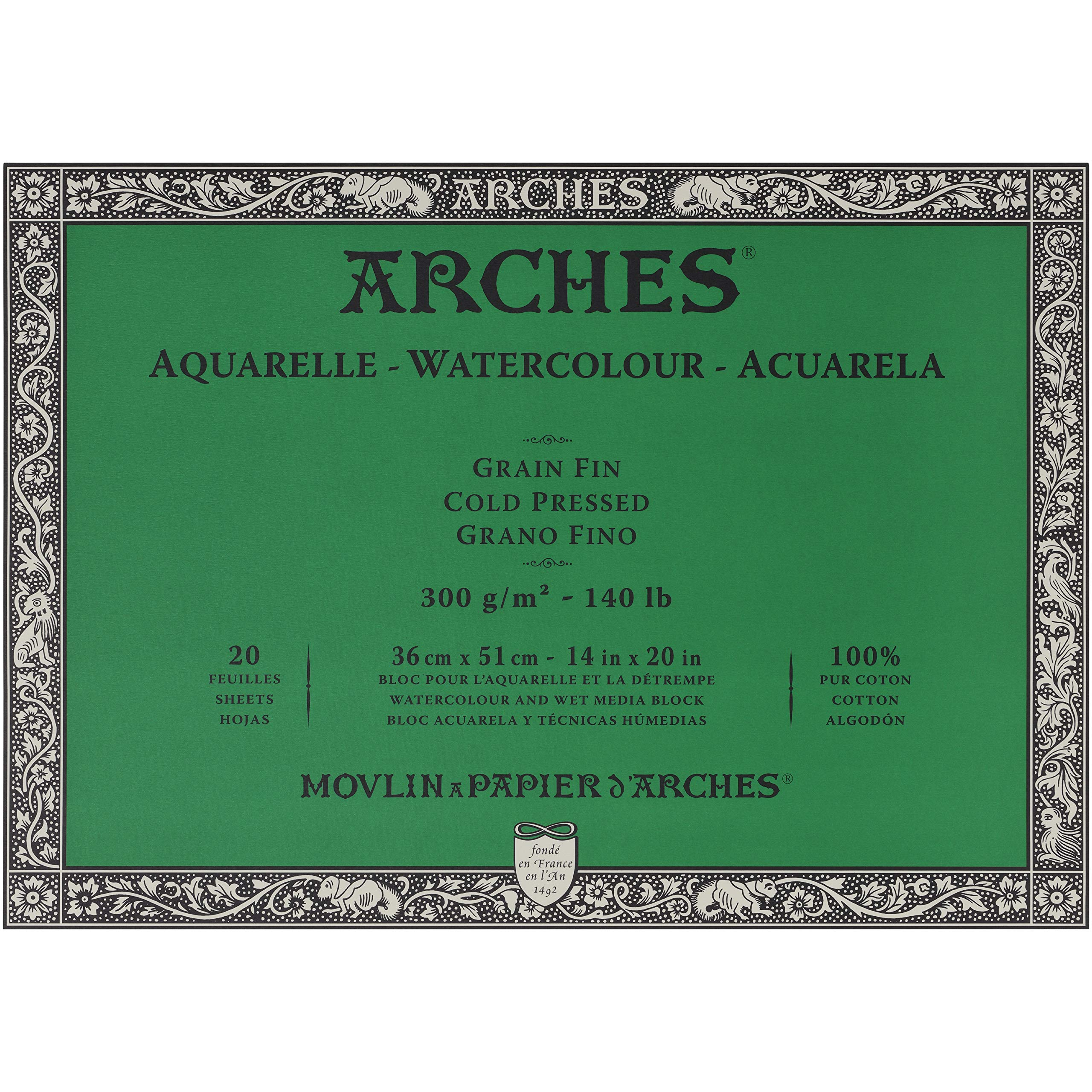 Arches Watercolor Paper Block - Cold Press 140lb - 18x24 - with 4-Pack Upsyde Angle Lifts by Jerrys Artarama