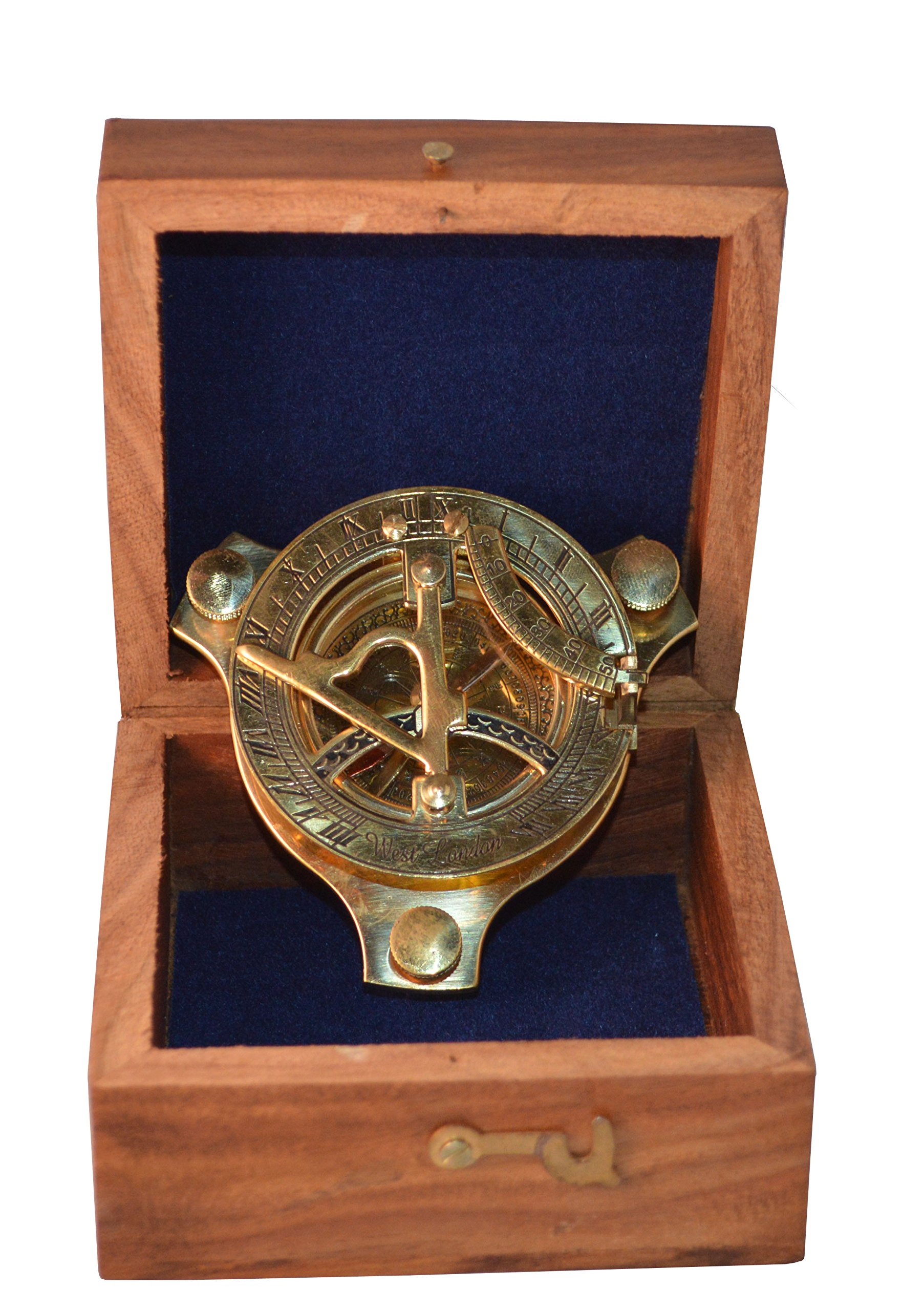 Avs Stores ® Brass Sundial Compass 3'' With Rosewood Wooden Box