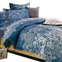 Essina Queen Quilt Cover Set 3pc Rosetta Collection, 100% Cotton 620 Thread Count Duvet Cover Set, Pillow Sham