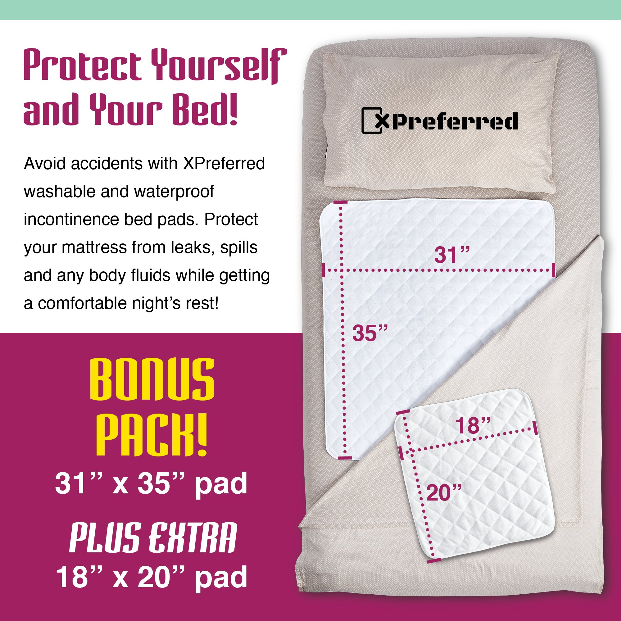 "2 Pack Waterproof Bed Pads - Mattress and Chair Protective Covers - Non Slip, Breathable, Hypoallergenic, Terry Cloth - Baby, Bed Wetting, Elderly, Pets – 31"" x 35"" and 18"" x 20"" - by X-Preferred by X-Preferred (Image #5)"