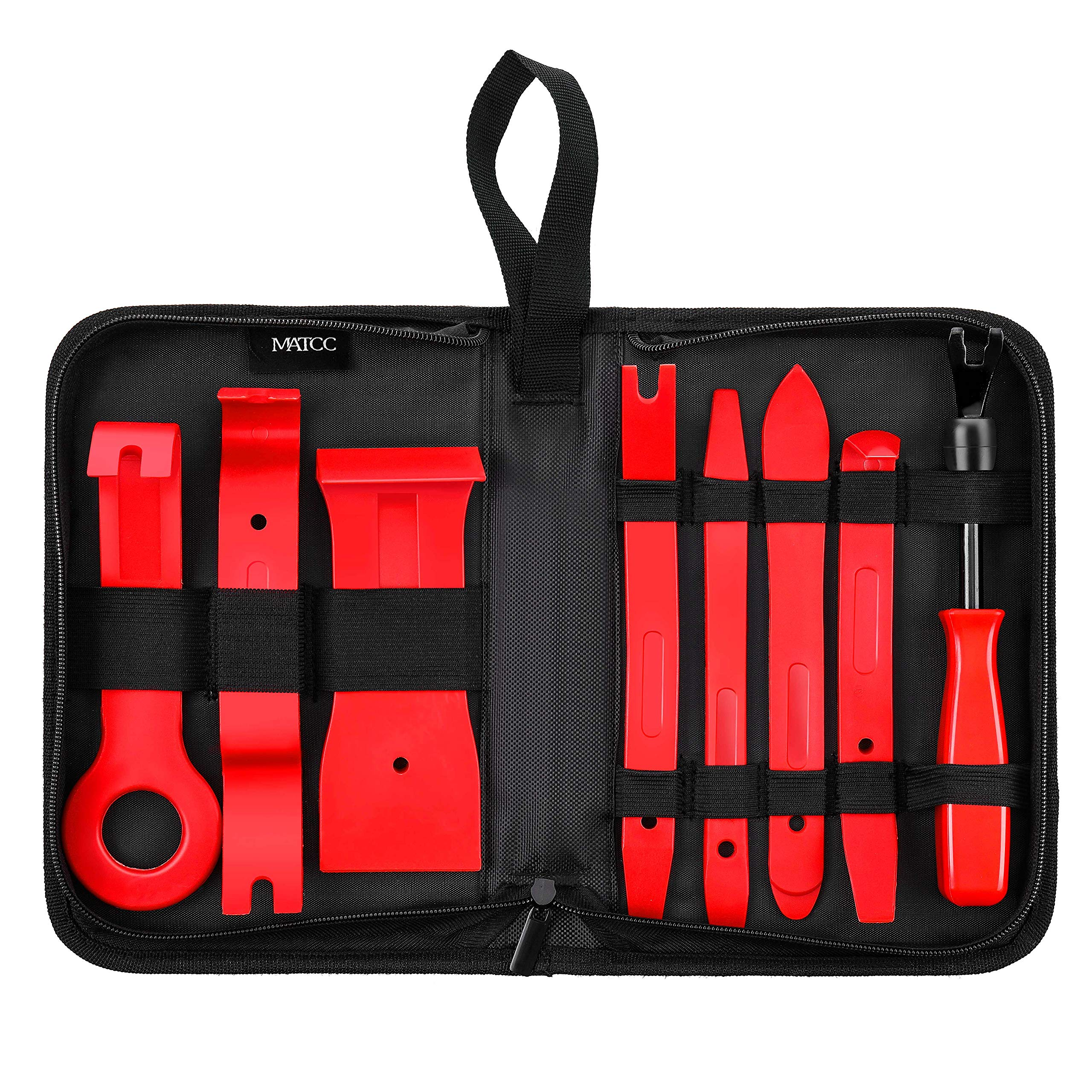 MATCC 8pcs Car Panel Removal Tools Trim Removal Tool Set Nylon for Car Door Panel Dash Audio Radio Removal Installer and Repair Pry Tools Kits with Fastener Remover Storage Bag