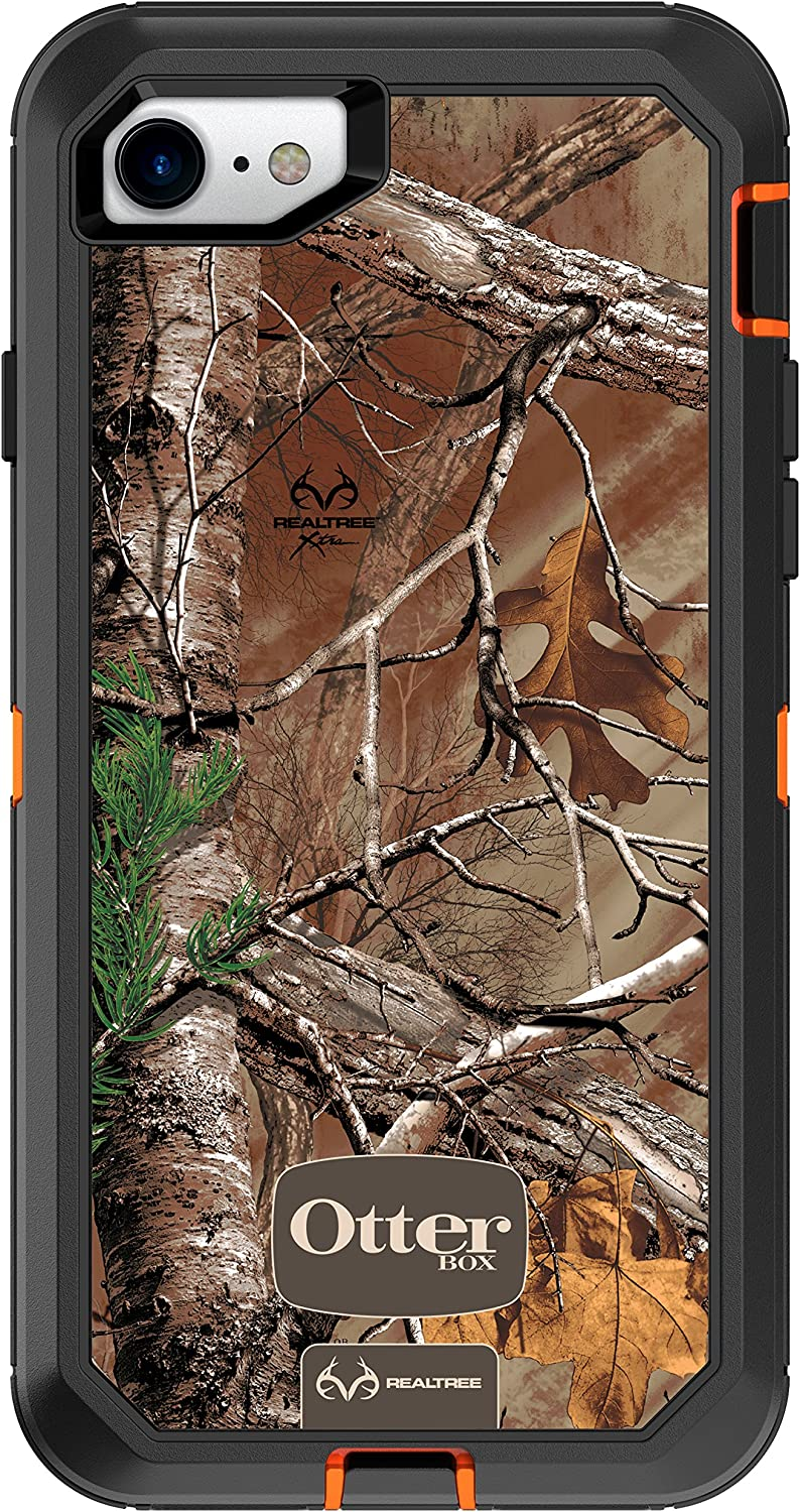 OtterBox DEFENDER SERIES Case for iPhone 8 & iPhone 7 (NOT Plus) - Retail Packaging - (BLAZE ORANGE/BLACK W/REALTREE XTRA CAMO)