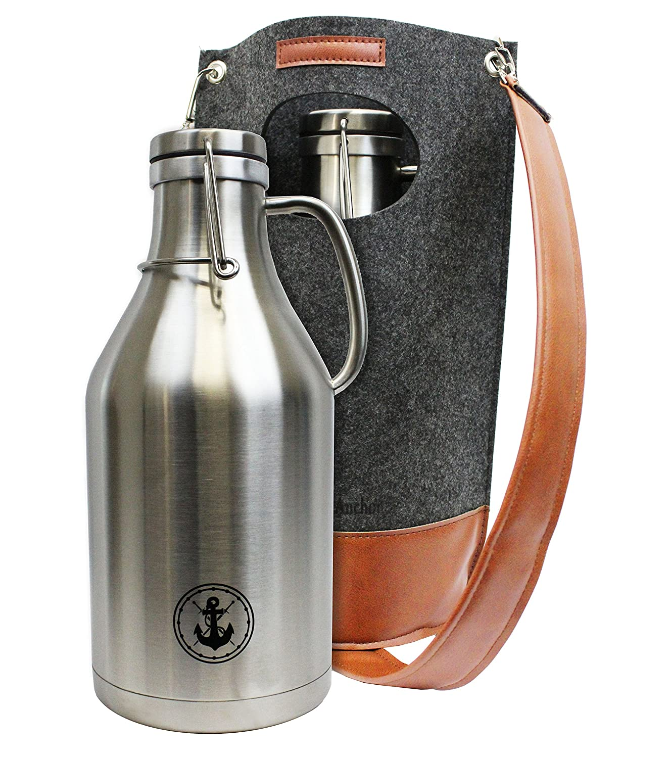 64oz Insulated Steel Beer Growler with Wool Carrying Case (stainless steel, double walled)