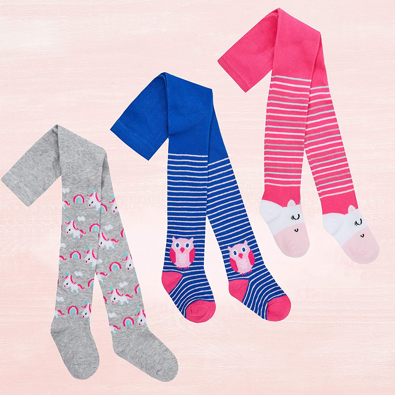 Baumwolle 3er-Pack Eule und Einhorn Metzuyan Baby // M/ädchen Strumpfhosen gestreift warm
