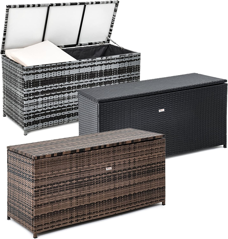 Kissenbox Rattan Box f/ür den Garten Grau-Mix Truhe ESTEXO Polyrattan Auflagenbox 120 x 60 x 50 cm aus Polyrattan