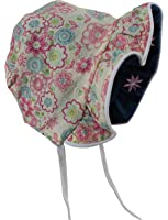 N'Ice Caps Baby Girls Solid to Print Reversible Sun Bonnet