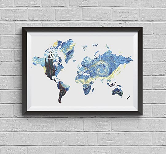 Amazon world map painting vincent van gogh print starry night world map painting vincent van gogh print starry night poster archival fine art print wall art gumiabroncs Images