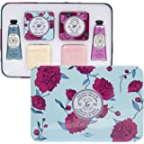 La Chatelaine Luxury Shea and Cherry Almond Hand Cream & Soap Large Tin Gift Set, 2 Triple Milled French Soaps , 2 x 3.5 oz (100g), 2 Shea Butter Hand Lotions 2 x 1 fl oz, 2 Elegant Soap Travel Tins