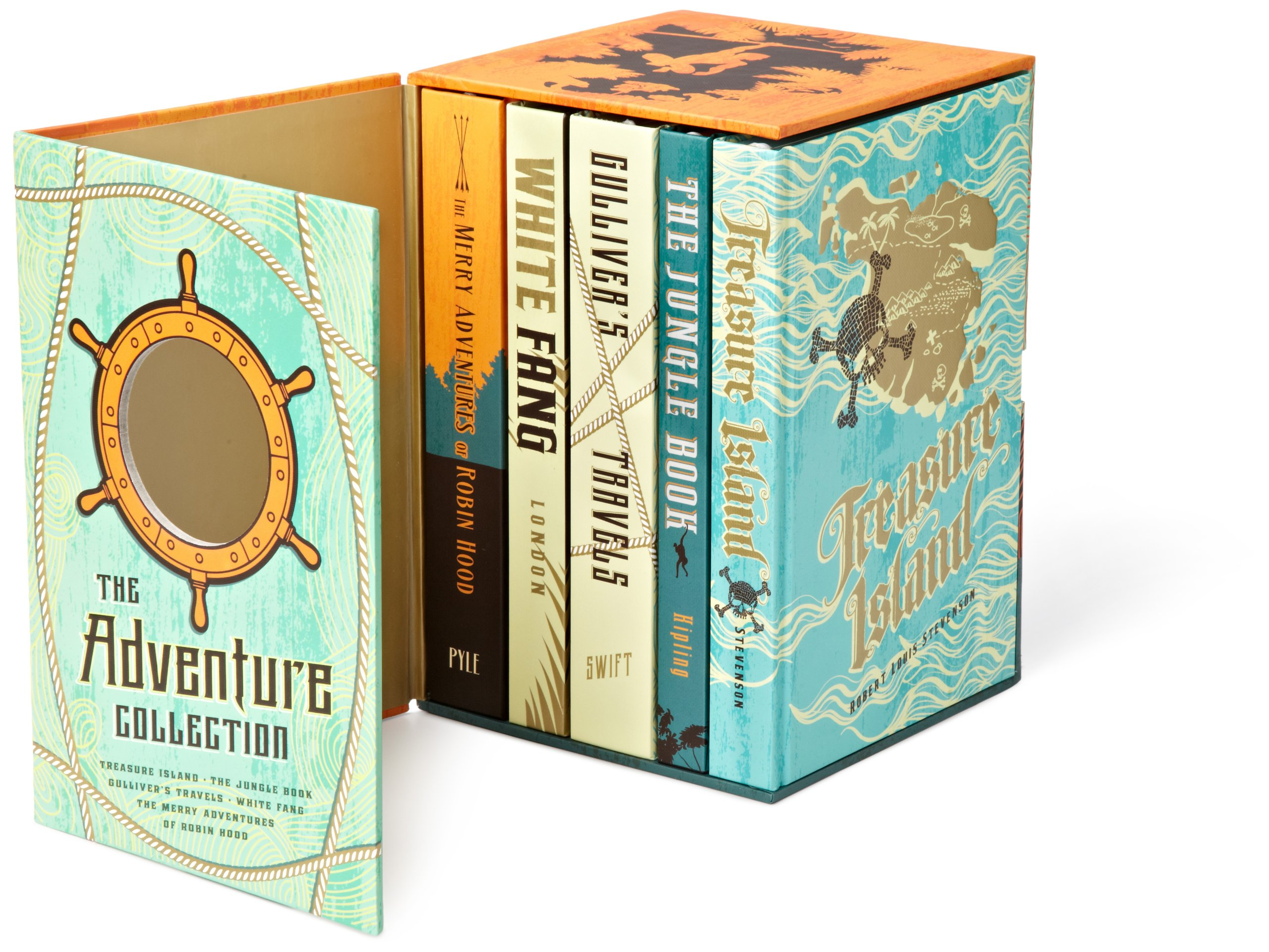 The Adventure Collection: Treasure Island, The Jungle Book, Gulliver's Travels, White Fang, The Merry Adventures of Robin Hood (The Heirloom Collection) by Brand: Two Lions (Image #3)