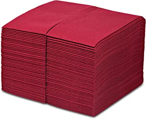 GreenOlive Paper Dinner Napkins Burgundy 100 Pack - Thick Linen Feel - Disposable Hand Towels or Guest Towels For Wedding, Party, Kitchen, or Bathroom (Bordeaux)