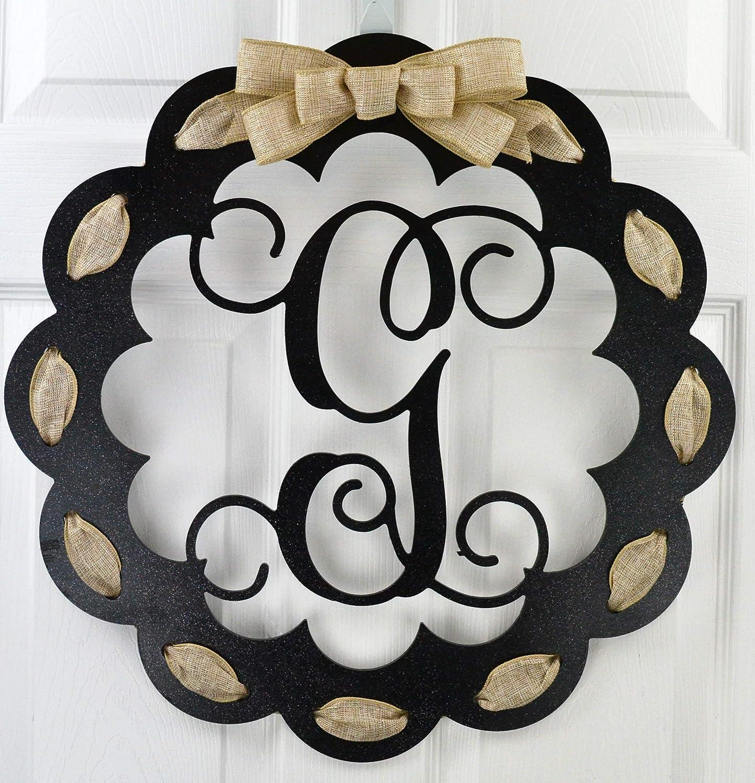 Letter G - Monogrammed Door Hanger   Mom Gift   Black and Burlap Everyday Year Letter Door Hanger