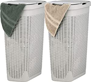 Superio Slim Laundry Hamper Beige 40 Liter (2 Pack) Durable Plastic Hamper Basket with Lid, Durable Washing Bin 1.15 Bushel, Narrow and Tall Basket Bathroom Storage Dirty Cloths Easy Use (Ivory)