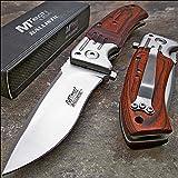Mtech Ballistic Red Pakkawood Folding Blade Pocket Knife
