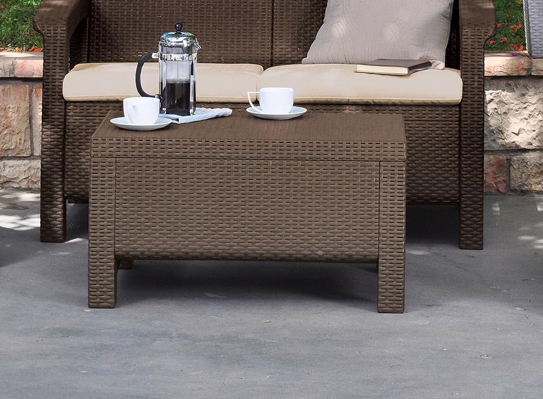 amazoncom keter corfu coffee table modern all weather outdoor patio garden backyard furniture brown patio ottomans patio lawn u0026 garden