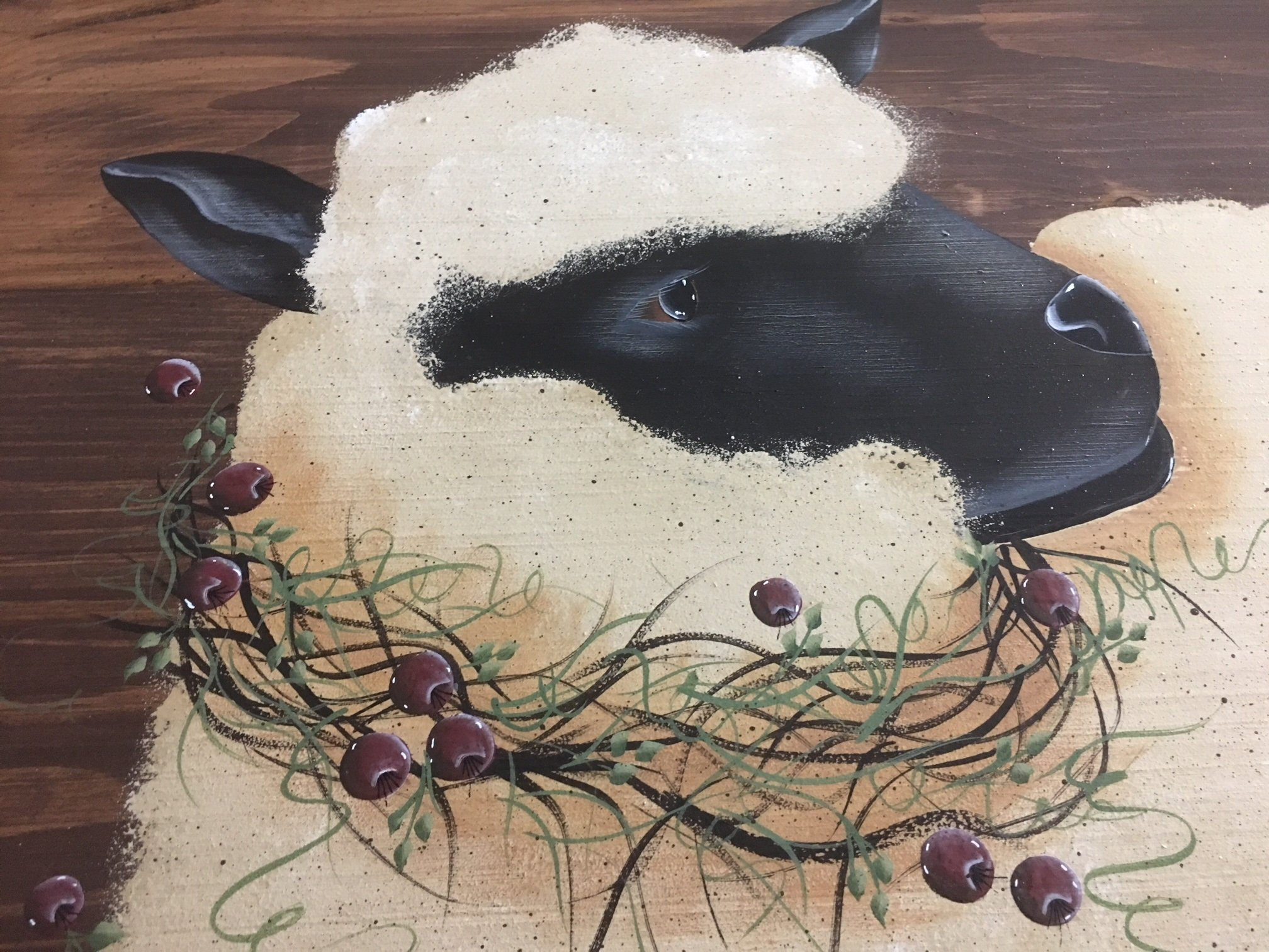 Primitive Painted Decor Suffolk Sheep Gooseberry Wreath Wood Stove Noodle Board 24X30 by Primitive Country Loft House (Image #3)