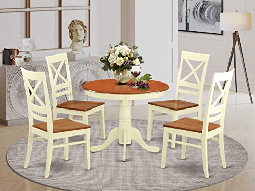 East West Furniture dining room table set 4 Excellent wooden dining chair