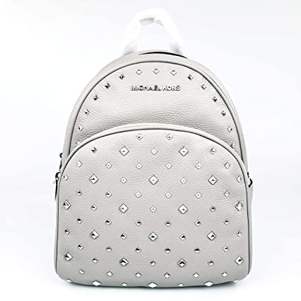 6adc1004fc5a26 Image Unavailable. Image not available for. Color: MICHAEL KORS Abbey Medium  Studded Backpack in ASH Grey Pebbled Leather