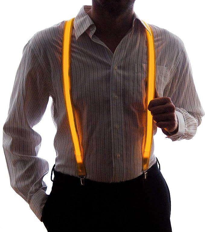 Tirantes de luces led de color amarillo para hombre