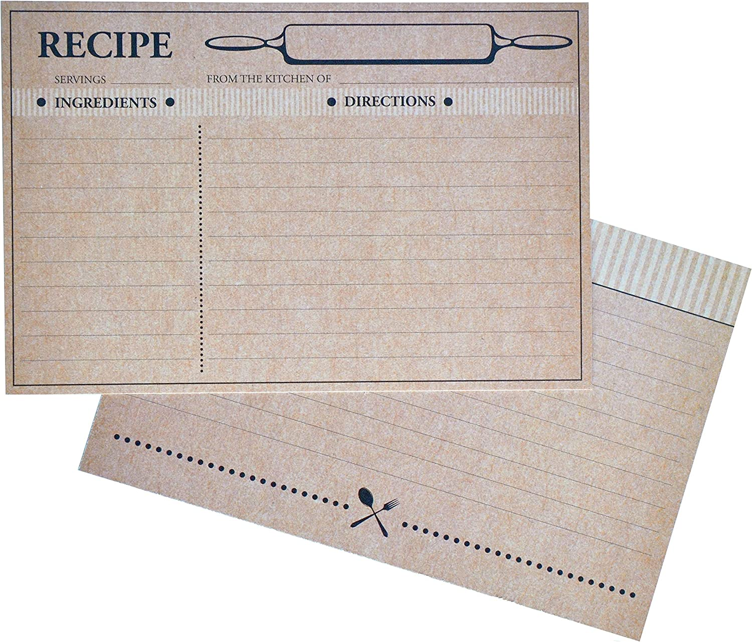 Home Advantage 50 Farmhouse Rustic Recipe Cards 4x6, Double Sided Kraft Design Cards