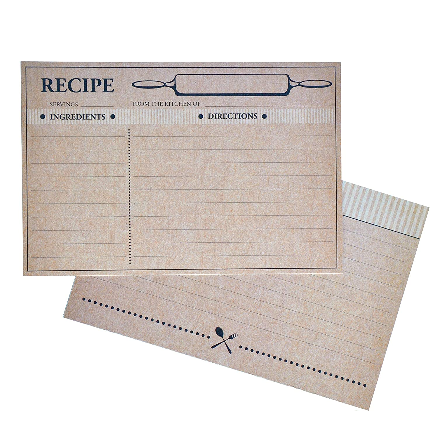 Home Advantage Farmhouse Rustic Recipe Cards 4x6, (50) Double Sided Kraft Design Cards