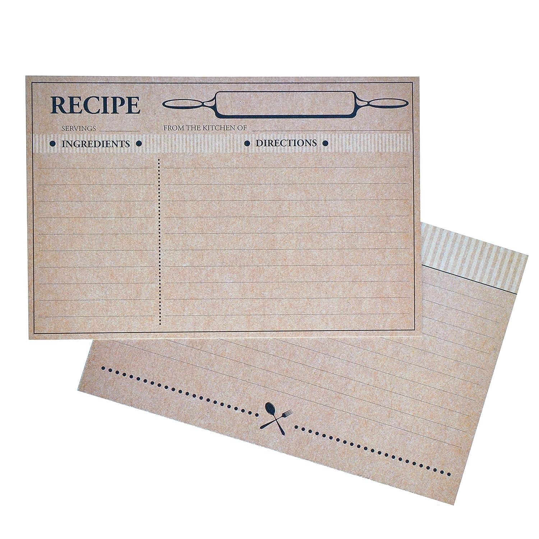 Home Advantage Farmhouse Rustic Recipe Cards 4x6, (50) Double Sided Kraft Design Cards