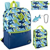 5 in 1 Backpack with Lunch Bag for Boys, Backpack and Lunch Box Set Elementary (Sharks)