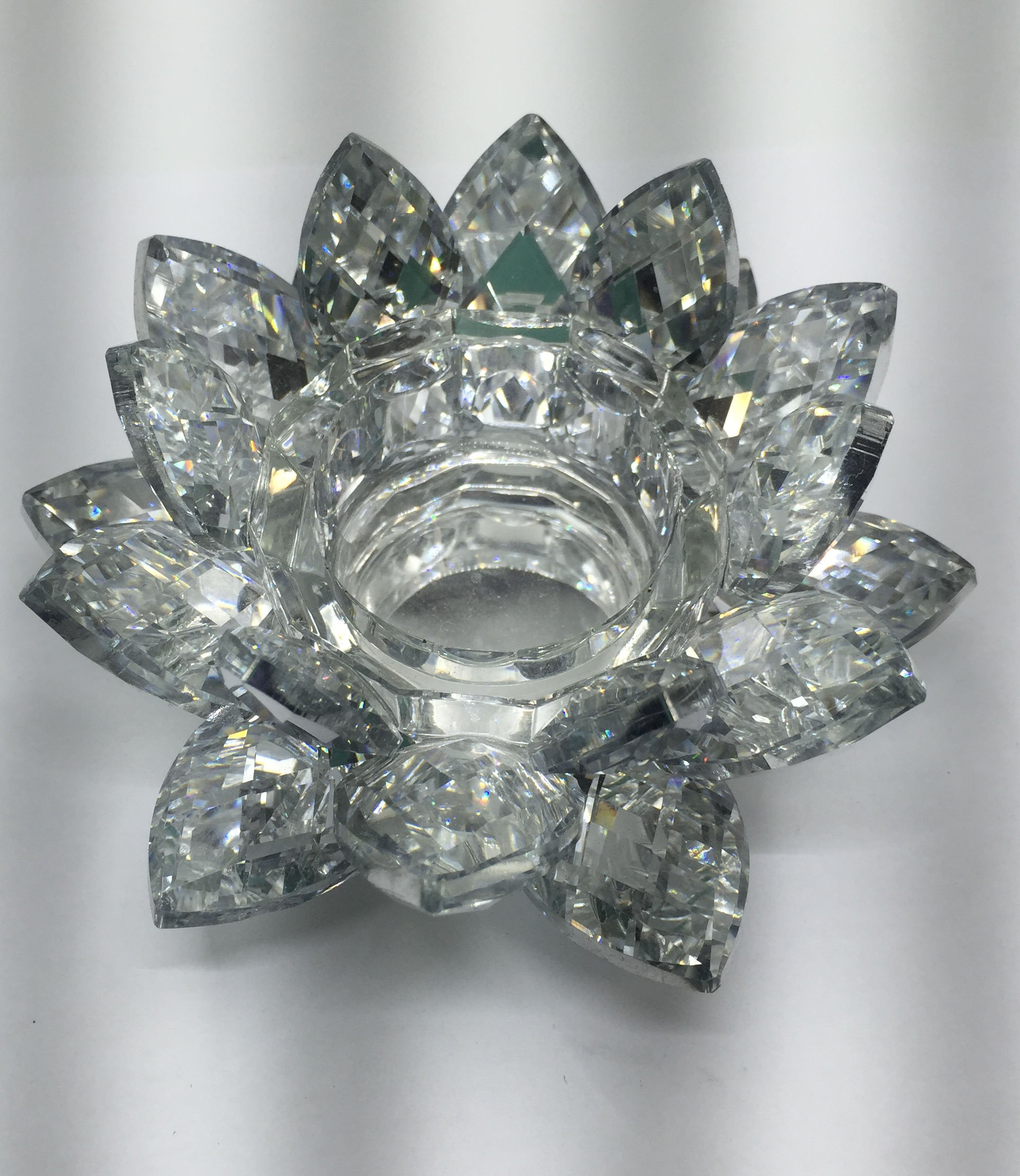 SunRise 4.5 inch Centerpieces Crystal Lotus Candle Holder Collectible Figurine Crystal (Silver) by SunRise (Image #1)