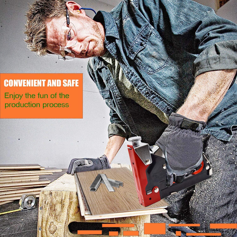 Perfekt f/ür Bastelarbeiten und Renovierungsarbeiten im Haus Handtacker mit Klammern Tackerpistole Tacker f/ür Holz inkl 600 Klammern