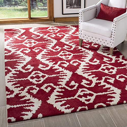 Safavieh Wyndham Collection WYD323R Handmade Red and Ivory Wool Area Rug