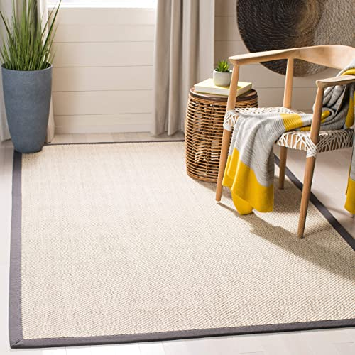 Safavieh Natural Fiber Collection NF143D Marble and Dark Grey Sisal Area Rug 8' x 10'