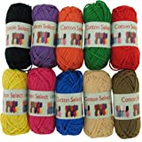 BambooMN Brand - Cotton Select Bonbon Yarns - Assortment 98 (Color B) - 10x 10g Solid Color Mini Ball - 1 Pack