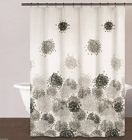 DKNY Shower Curtain Brushstroke Floral Grey Amazonca Home Kitchen