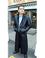 Men's Long Leather Single Breasted Coat