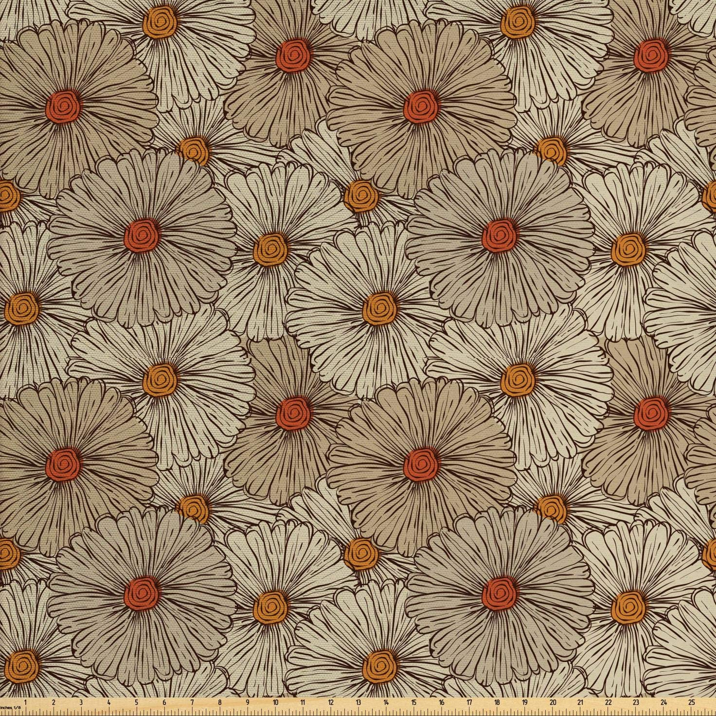 Ambesonne Vintage Fabric by The Yard, Sketch Art Style Gerbera Daisies Abstract Flowers Autumn Garden Flourish, Decorative Fabric for Upholstery and Home Accents, 3 Yards, Marigold Orange