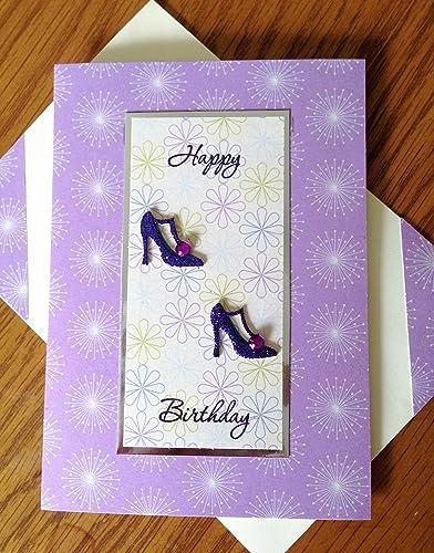 Amazon Happy Birthday Greetings Card Handmade Purple Shoes