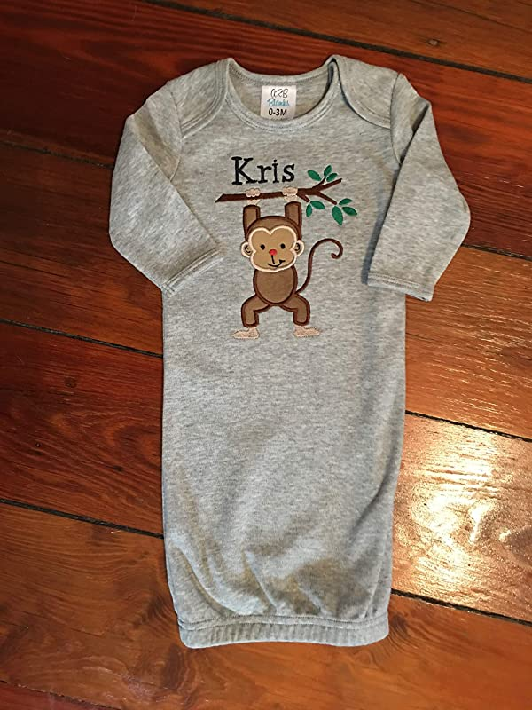 Baby Boy Applique Gown Baby Boy Coming Home Gown Infant Boy Applique Daygown Baby Boy Layette