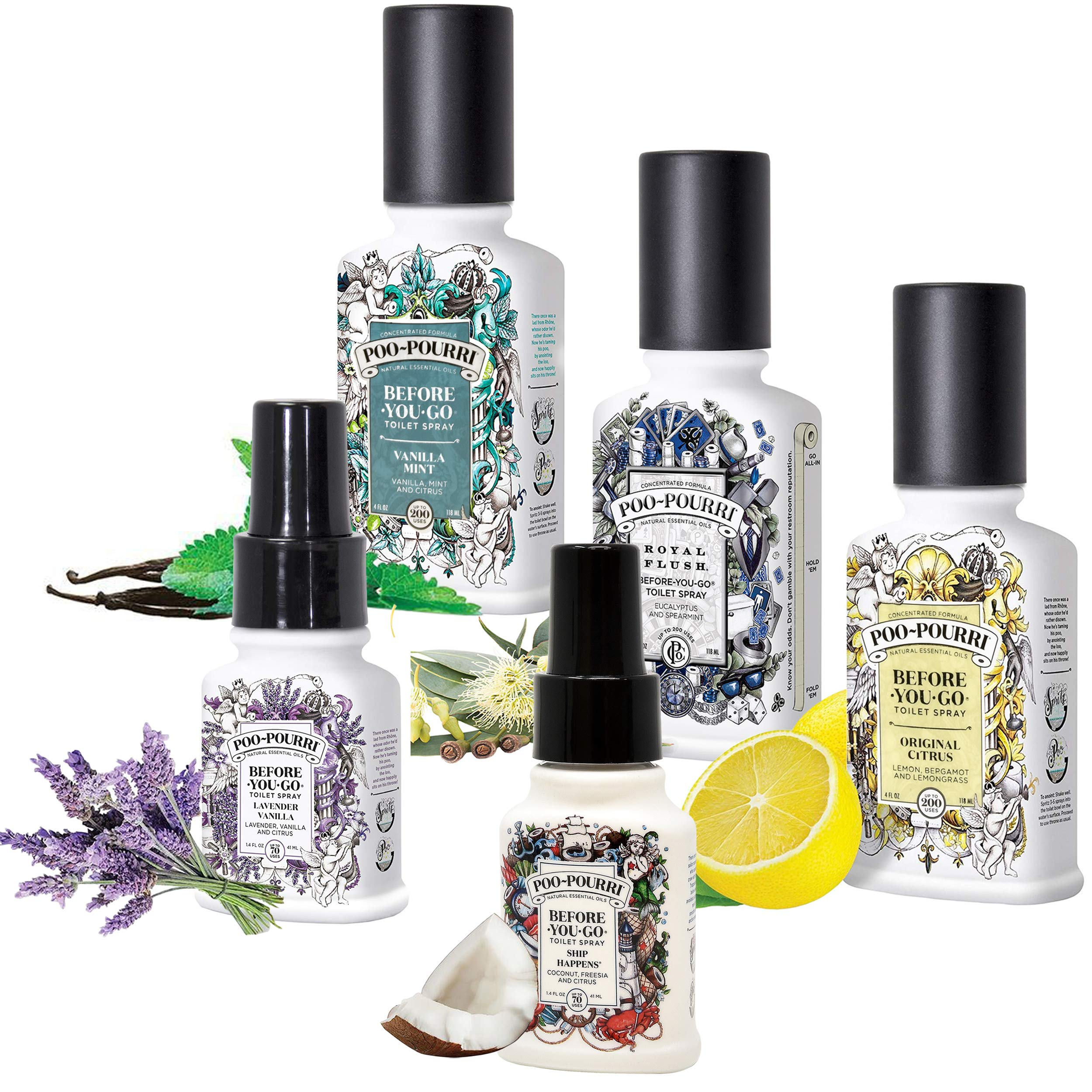 Poo-Pourri Set - Includes Original Citrus 4 Ounce, Royal Flush 4 Ounce, Vanilla Mint 4 Ounce, Ship Happens 1.4 Ounce, and Lavender Vanilla 1.4 Ounce by Poo-Pourri (Image #2)