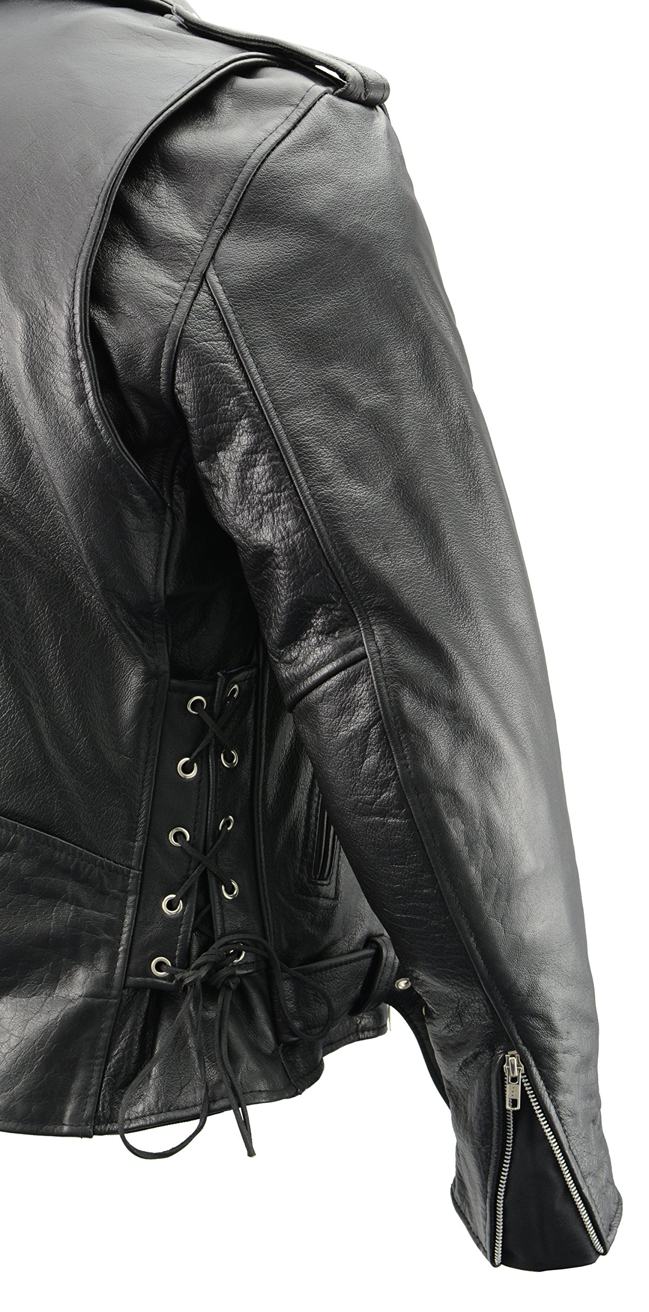 Men's Leather Motorcycle Jacket with CE Certified Armor | Premium Natural Buffalo Leather | 2 Concealed Carry Gun Pockets | Adjustable Side Lace Biker Jacket with Patch Access Lining (Black, 8XL) by The Bikers Zone (Image #5)