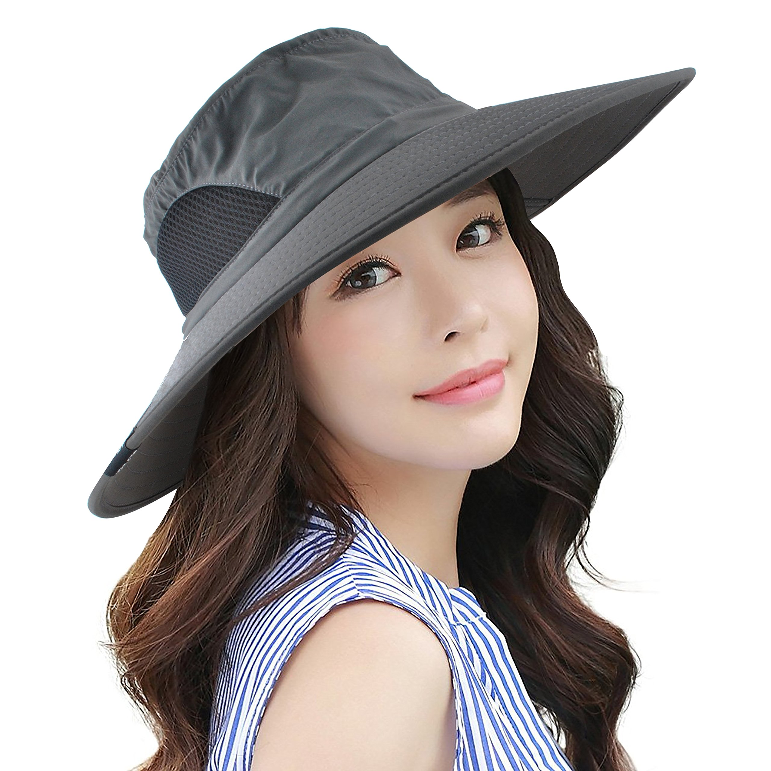 09eecab7 Headshion Sun Hats for Women, Wide Brim UV Protection Sun Hat Foldable  Boonie Cap with