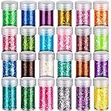 Holographic Body Glitter, LEOBRO 24 Color Chunky & Fine Glitter Powder Mix, Cosmetic Glitter for Nail Body Face Hair Eye, Cra