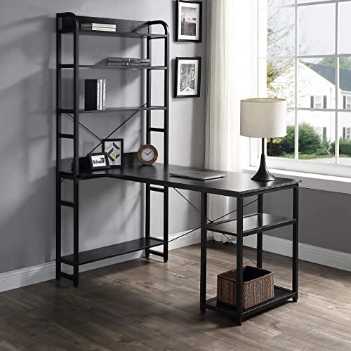 Office Computer Desk Metal Frame and MDF Board 4 Tier Open Bookshelf Plenty Storage Space, Computer Desk with Storage Shelves Monitor Stand Study Table for Home Office Ship from USA Black