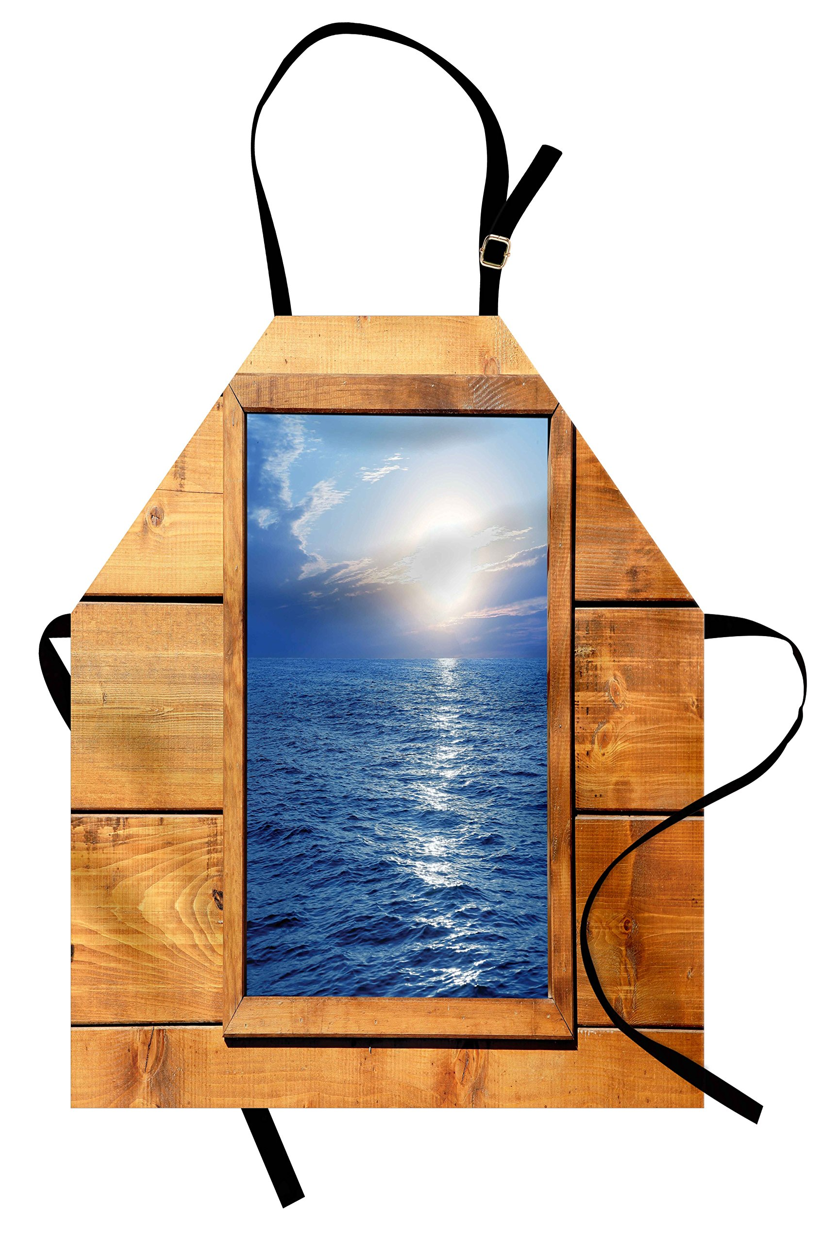 Lunarable Rustic Apron, Window Sea View From Wooden Oak square Frame Room Sunrise Sun Rays Rustic, Unisex Kitchen Bib Apron with Adjustable Neck for Cooking Baking Gardening, Blue Pale Caramel