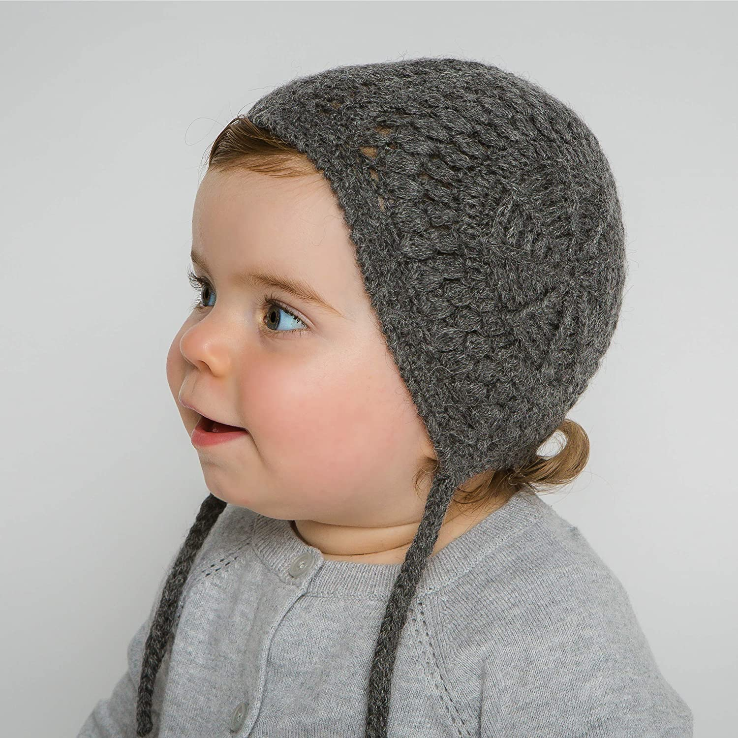 Hand-Knit 100% Organic Alpaca Wool | Loreto Bonnet Hat (Charcoal Grey) by Surhilo | Soft, Quality, Hypoallergenic | The Perfect and Eco-Friendly Way to Keep Your Baby and Toddler Cozy and Comfortable