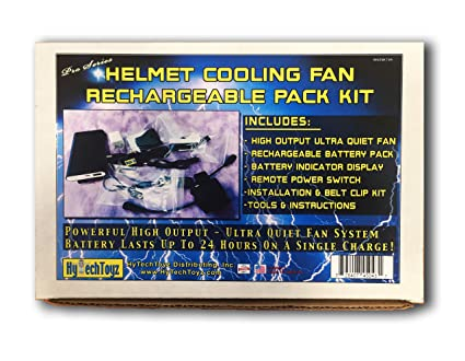 Amazon com: HYTECHTOYZ Rechargeable Helmet Cooling Fan KIT