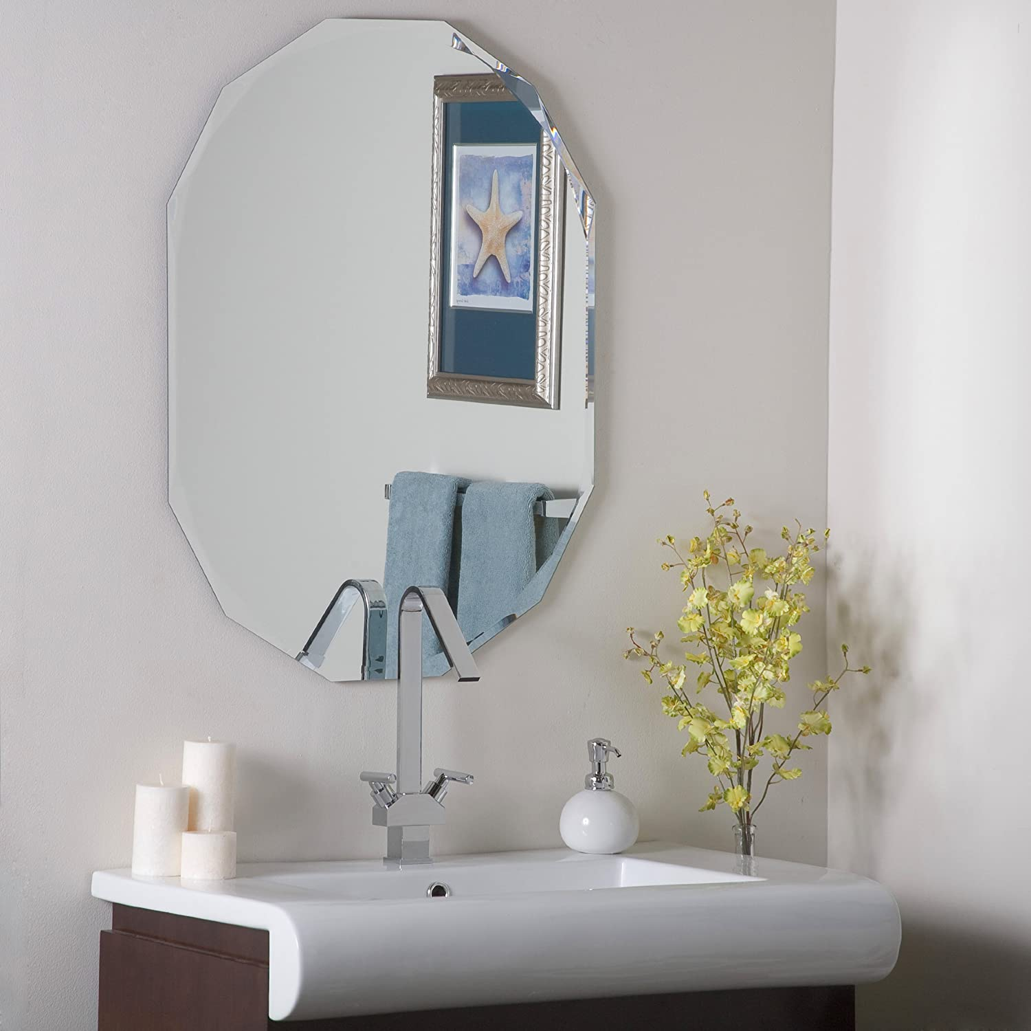 Amazon ascher cut frameless wall mirror home kitchen amipublicfo Image collections