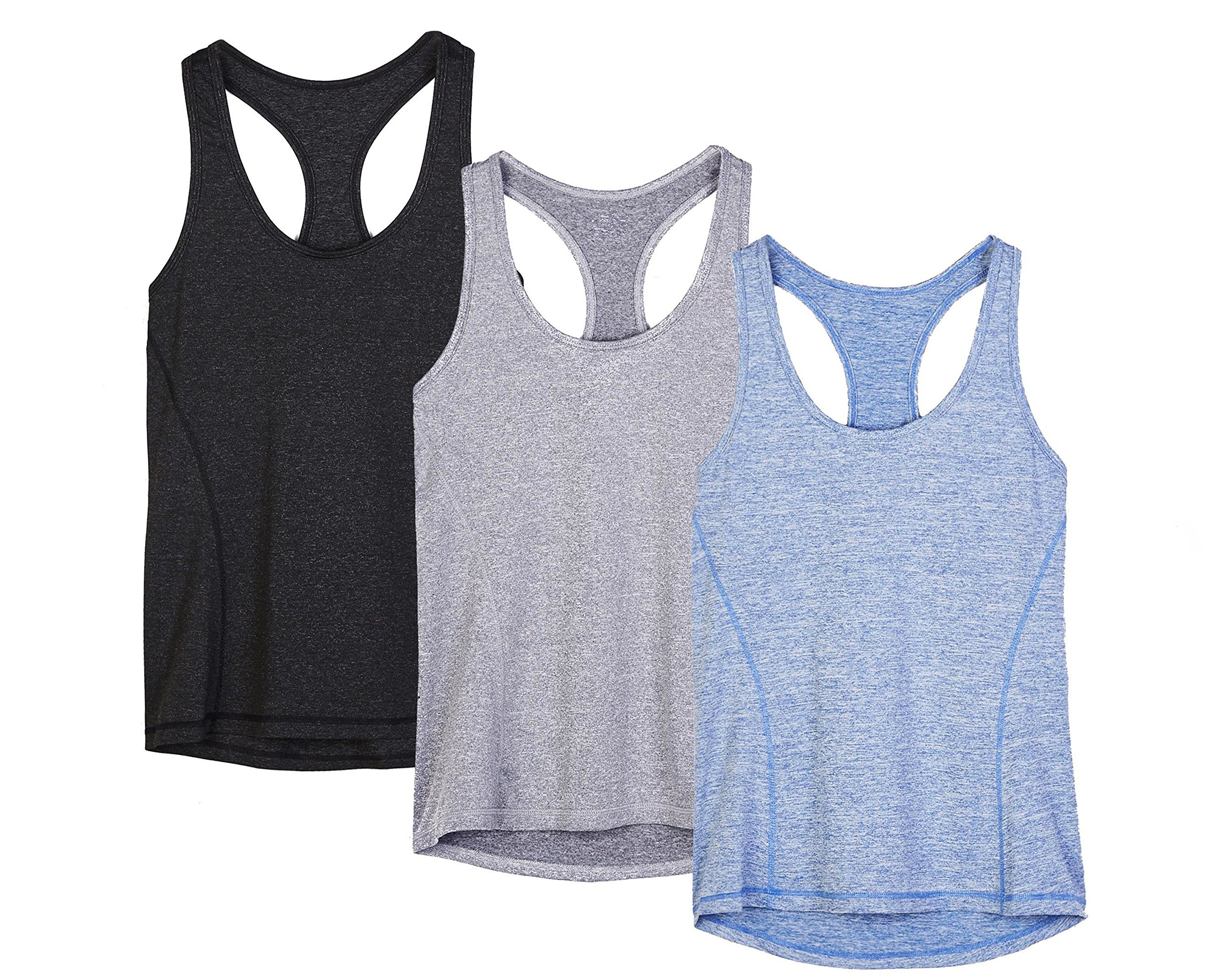 icyzone Activewear Running Workouts Clothes Yoga Racerback Tank Tops Women(Pack of 3) (M, Black/Granite/Blue)