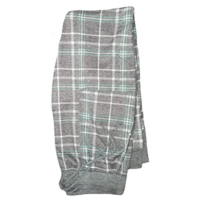 Charcoal Gray Heather Plaid Hacci Jogger Lounge Sleep Pants - Large at Women's Clothing store