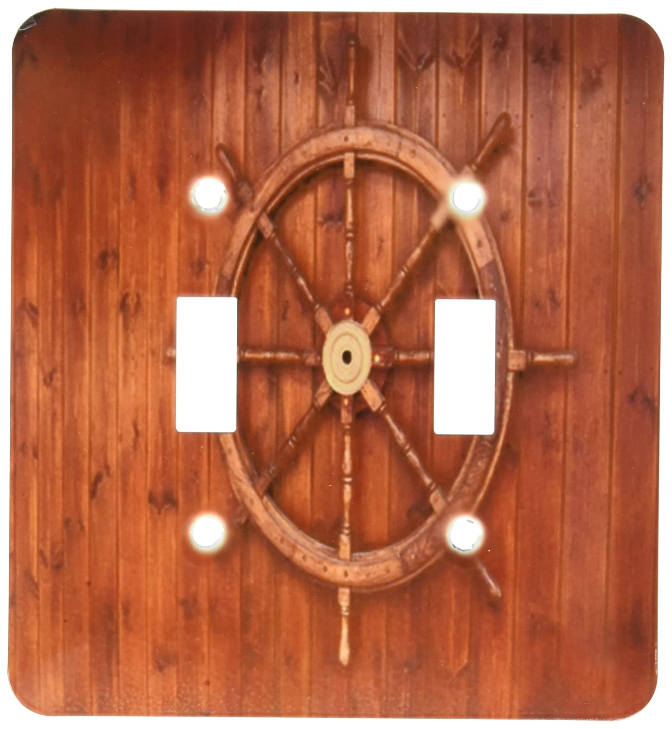 3drose Lsp1742332 Image Of Wooden Ships Wheel On Wood Light Switch