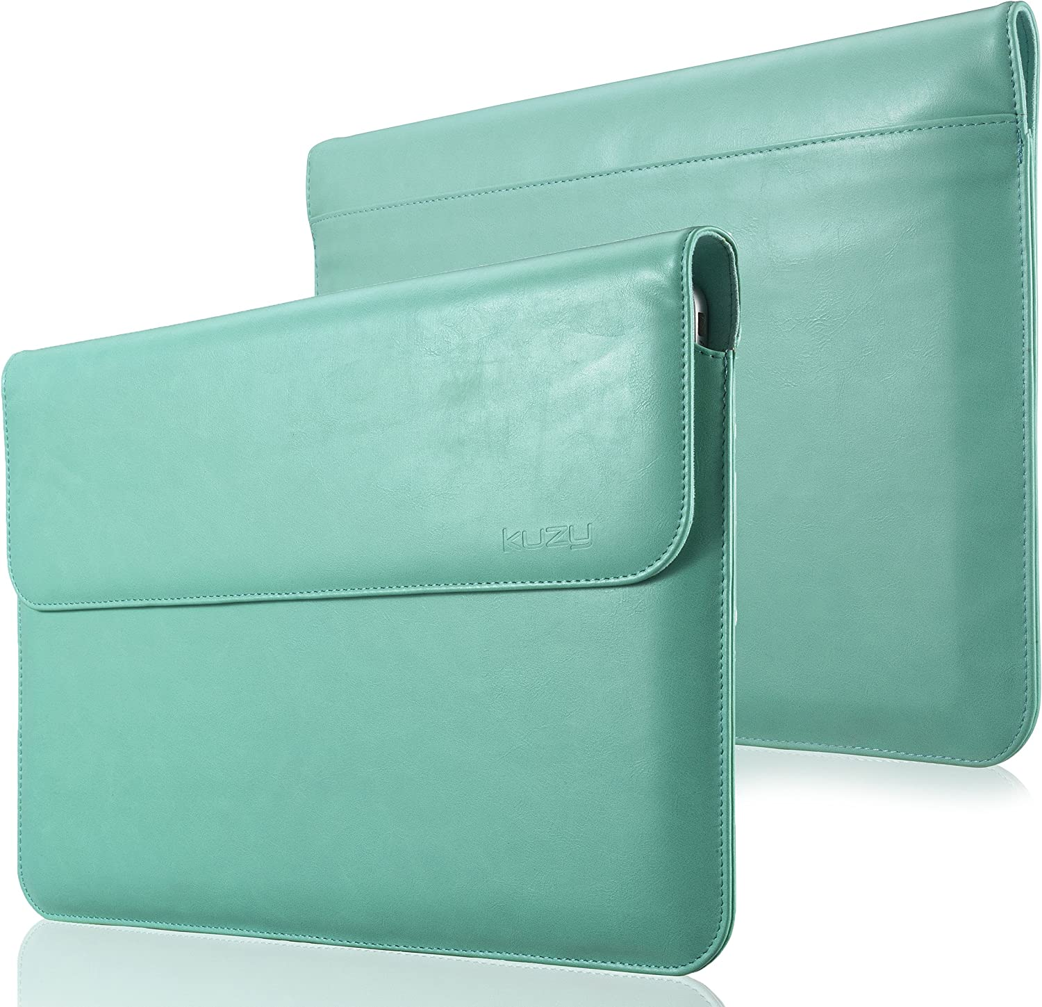 Kuzy - MacBook Pro 13 inch Sleeve Leather, 13 inch Laptop Sleeve Case for MacBook Air 13 inch Sleeve Case Cover (New Version) PU Leather Laptop Sleeve - Teal